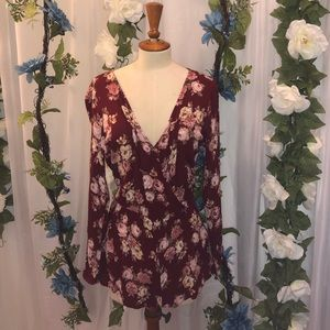 Forever 21 Flowered Long Sleeve Romper